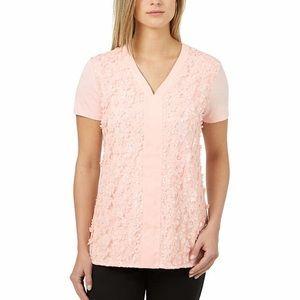 Badgley Mischka Shirt Pink 3D Flower Top